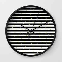 Modern black white gold polka dots striped pattern Wall Clock