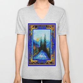 Richly Colored Mountain Trees Landscape in Blue & Gold Pattern Frame Unisex V-Neck