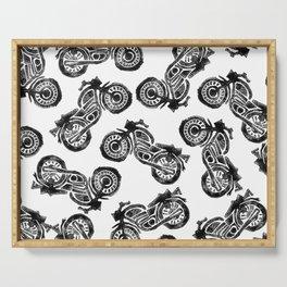 Motorcycle Linocut Block Print Serving Tray