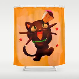 Choco Cat Shower Curtain