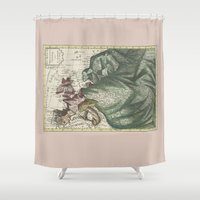 europe Shower Curtains featuring Dutch Print of Europe by anipani
