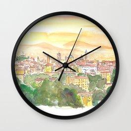 Bergamo Italy Citta Alta at Dusk Wall Clock