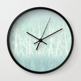 Frosted Winter Branches in Misty Green Wall Clock