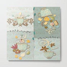 Time for Tea Series - Art Blocks Metal Print