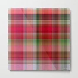 Red Rose Edges Plaid 1 Metal Print