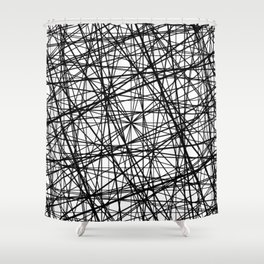 Geometric Collision - Abstract black and white Shower Curtain