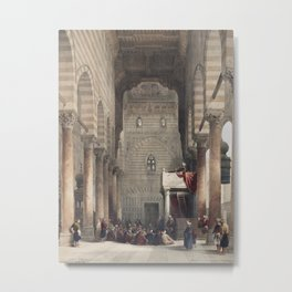 Interior of the mosque of the Metwalys (Metwalis) illustration by David Roberts copy 4 Metal Print