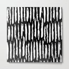 Vertical Dash White on Black Paint Stripes Metal Print