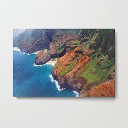 Na Pa Li Coast Aerial View, Kauai, Hawaii Metal Print