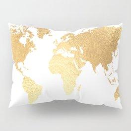 Textured Gold Map Pillow Sham