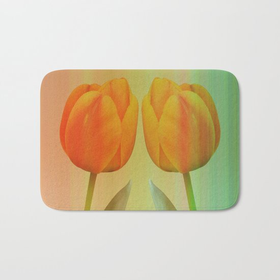 Head-to-Head, mixed media art with elegant Tulips Bath Mat