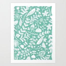 Forest Flora Green Art Print
