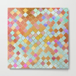 Pattern Gold and Pink Metal Print