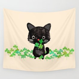 The Luckiest Cat Wall Tapestry