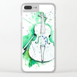 Water Color Violin (Teal) Clear iPhone Case