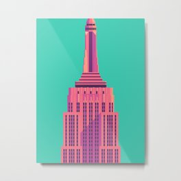Empire State Building New York Art Deco - Green Metal Print