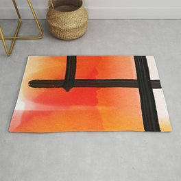 Orange Yellow Watercolor Abstract Pattern Rug