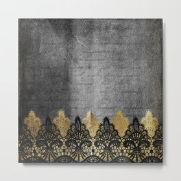 Pure elegance II - Luxury Gold and black lace on grunge dark background Metal Print