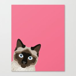 Peeking Siamese Cat - Funny cat meme for cat lovers, cat ladies gifts for cat people Canvas Print