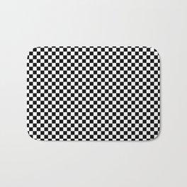 Black and White Checkered Pattern Bath Mat