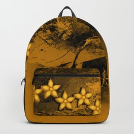 Orange flowers in an abstract grunge landscape Backpack