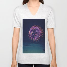 Purple Fireworks Unisex V-Neck