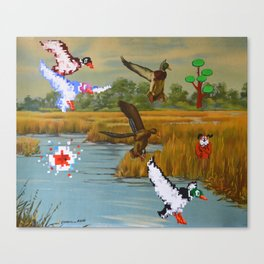 Flock of 8 bits Canvas Print