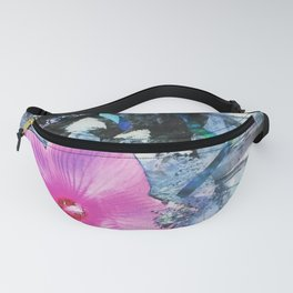 Pink Hibiscus Black and White Landscape Collage Fanny Pack