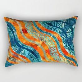 Wavy Tribal  Ethnic Boho Pattern Rectangular Pillow