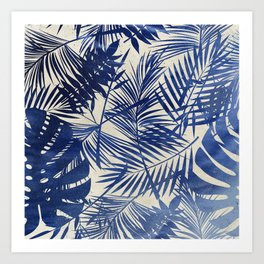 Cobalt Blue Tropical Leaf Pattern Art Print