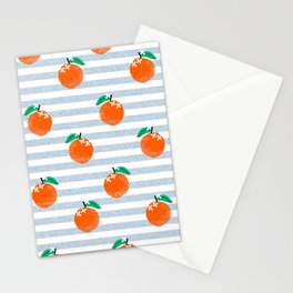 Orange fruit pattern with stripes fun pattern for boys or girls room Stationery Cards