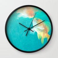 goldfish Wall Clocks featuring Goldfish by Elena Gianniki