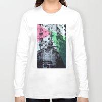 hong kong Long Sleeve T-shirts featuring Hong Kong Facade 2 by jennymadeleine