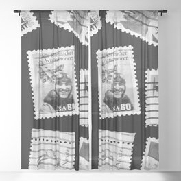 Nostalgic Stamps In Black And White #decor #society6 #homedecor Sheer Curtain