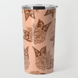 Cabbage Roses in Rust Travel Mug