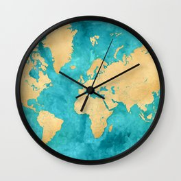 "Teal watercolor and gold world map with countries and states ""Lexy"" Wall Clock"