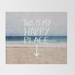 My Happy Place (Beach) Throw Blanket
