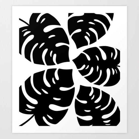 Black and White Palm Leaves Art Print