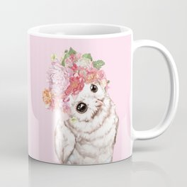 Snowy Owl with Flowers Crown Coffee Mug
