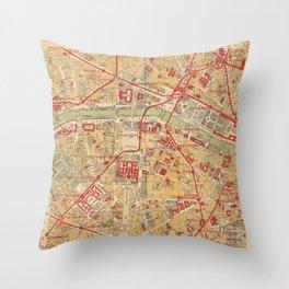 Paris City Centre Map - Vintage Full Color Throw Pillow