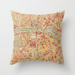 Paris City Centre Map - Vintage Full Color Throw Pillow
