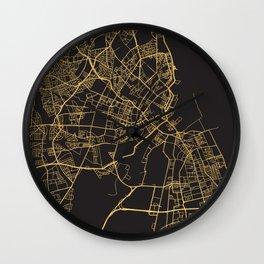COPENHAGEN DENMARK GOLD ON BLACK CITY MAP Wall Clock