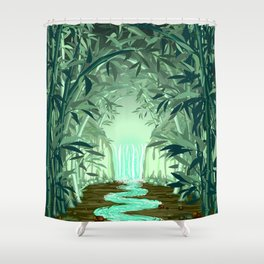 Fluorescent Waterfall on Surreal Bamboo Forest Shower Curtain