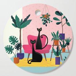 Sleek Black Cats Rule In This Urban Jungle Cutting Board