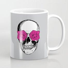 Skull and Roses | Grey and Pink Coffee Mug