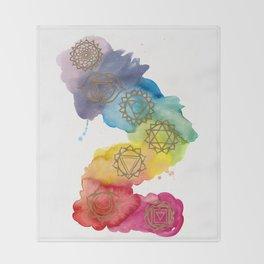 7 Chakras Watercolour Painting Throw Blanket