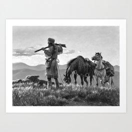 Boone- Ever Westward Black and White Art Print