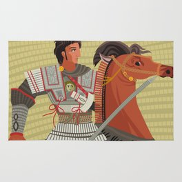alexander the great mosaic riding a horse Rug
