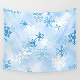 Blue White Winter Snowflakes Design Wall Tapestry