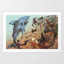 LOVE ME LIKE A PSYCHO ROBOT - USING A HUGE SHARK Art Print